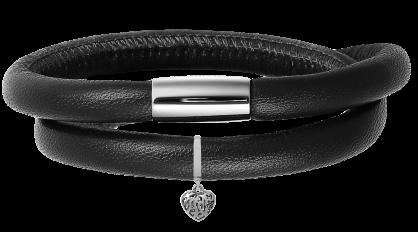 Pulsera de cuero doble con cierre de Plata de Ley_Negro_Corazón de Plata
