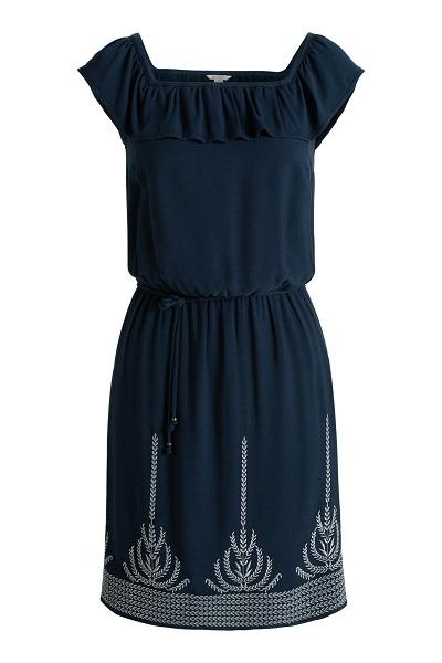 Vestido con volante en escote y pequeño estamapado en la falda , de Espirit (69,99 €)