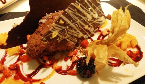 Sándwich de chocolate y vinagreta de naranja. ¡De pecado mortal!