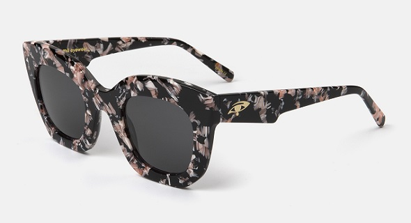"""Montura estampada rosa y negro con lentes """"solid grey"""""""