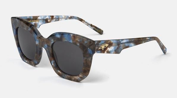 """Montura estampada en marrón y azul transparente con lentes """"solid grey"""""""